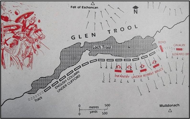 Batalla de Glen Trool 1308. Robert de Bruce con 300 paisanos y algunos jinetes tienden una emboscada y derrotan a una fuerza de 1.500 ingleses bajo el mando de Clifford señor sin castillo de Skipton