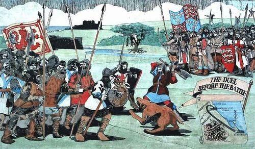 Batalla de Halidon Hill 1333. Duelo entre el escoces Turnbull y Roberto Benhale. Benhale primero mató al perro y después al gigante escoces