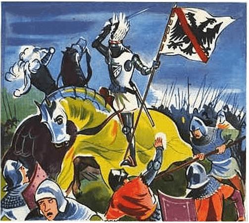 Batalla de Pontvallain 1.370. Bertan Du Guesclin durante la batall