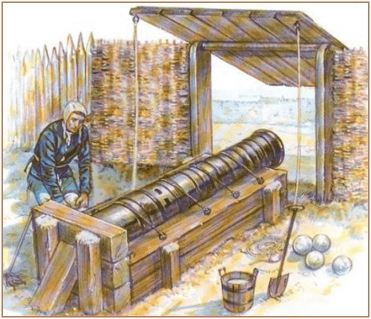 Bombarda de asedio francesa protegida por un mantelete, al lado los bolaños