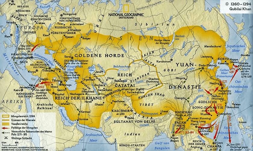 Campañas de Kublai Kan 1260-94. National Geographic