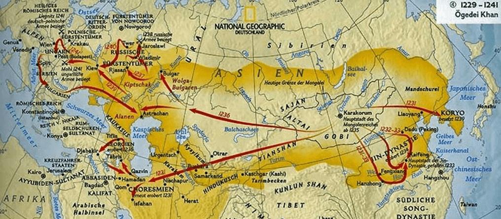 Campañas de Odeguei Kan 1229-1241. Fuente National Geographic