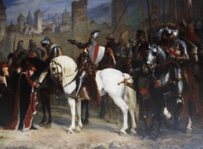 Chevauchée de Juan Chandos o Chandois desde Calais, murió en Poitou en un enfrentamiento con el caballero bretón Guillaume Boistel en el puente de Lussan.