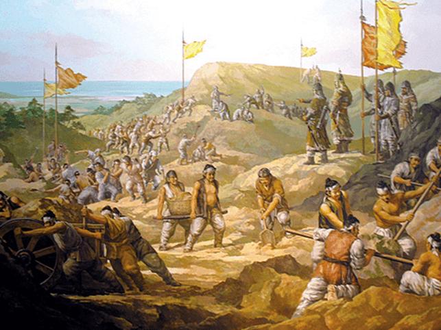 Ejercito coreano fortificando la isla de Ganghwa