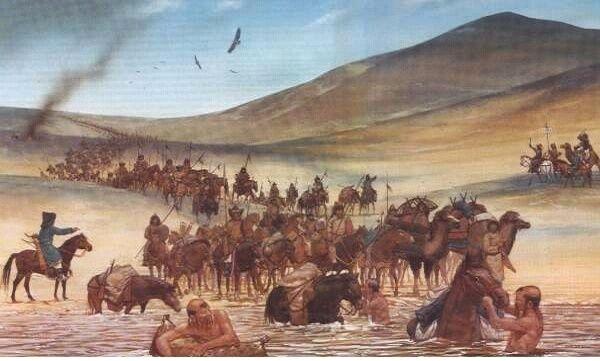 Ejercito mongol atravesando un río, observar el uso de los pellejos como flotadores