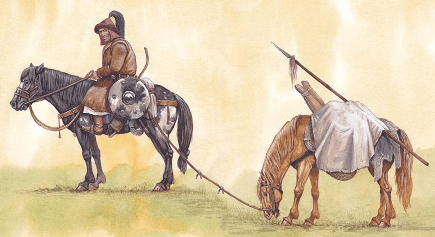 Explorador mongol. Llevaba varios caballos pudiendo recorrer entre 80 y 110 km diarios