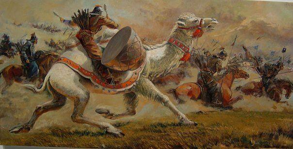 Gran naccará o tambores de guerra usados por los mongoles para iniciar la carga, eran transportado por camellos, al oírse los jinetes se lanzaban a la carga gritando salvajemente.