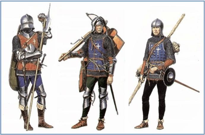 Guerreros franceses 1.448: a la izquierda un voulgier armado con una voulge precursora de la alabarda; en el centro un .ballestero y a la derecha un arquero