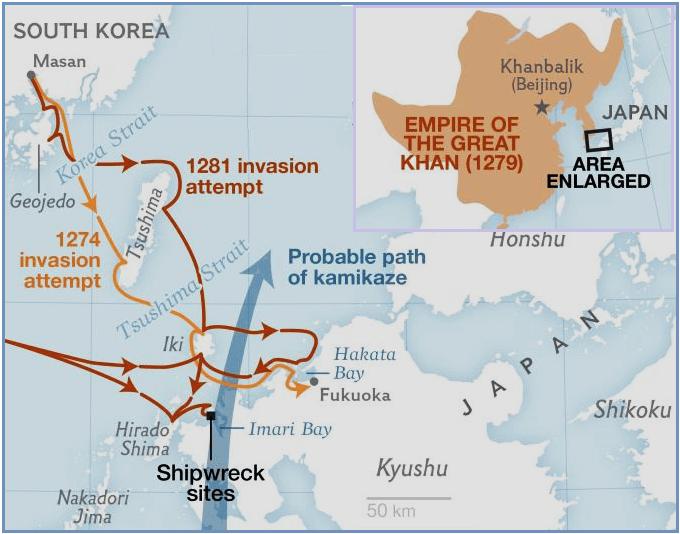 Invasiones mongolas de Japón y posible ruta del kamikaze. Fuente National Geographic