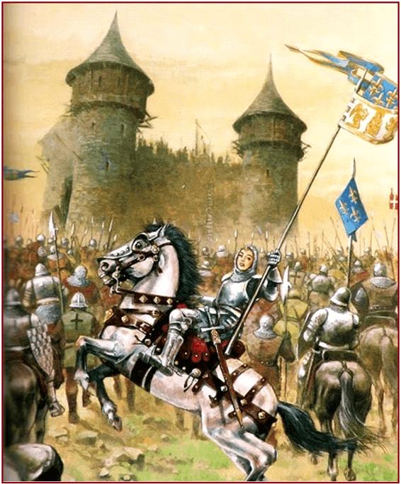 Juana de Arco asaltando un castillo, posiblemente Meung-sur-Loire. Autor Justo Jimeno