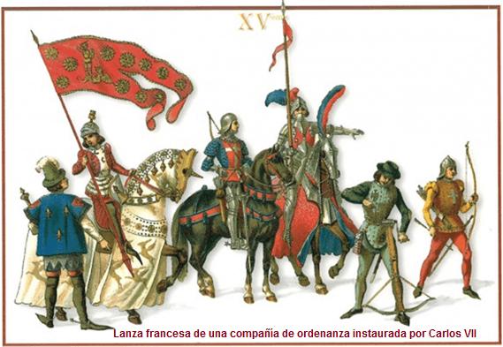 Lanza de las compañías de ordenanza del rey: un hombre de armas (gens d'armes o gendarme), un coutilier o escudero, 3 arqueros o ballesteros, uno de los cuales montado y un varlet o sirviente