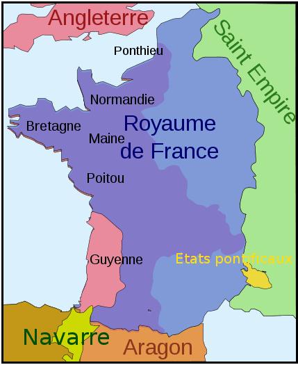 Mapa de Francia 1 .259 después del tratado de París