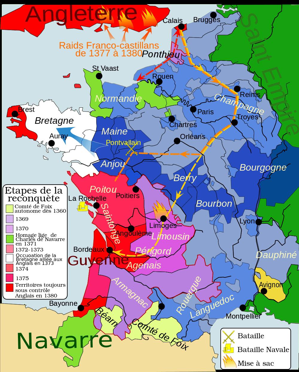 Mapa de Francia 1364-1380. Fuente http://www.cartesfrance.fr/