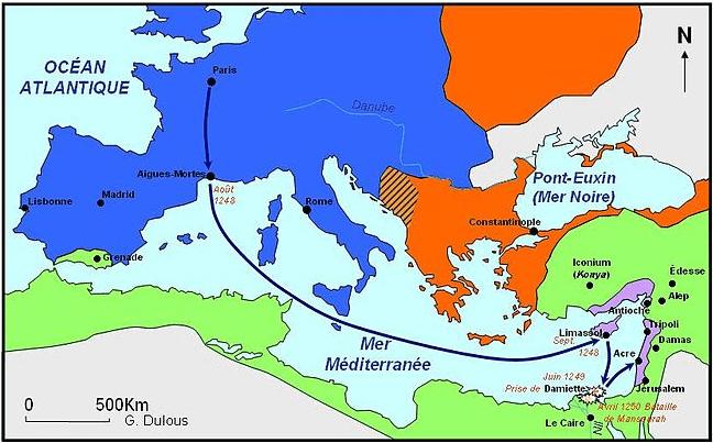 Mapa de la Séptima cruzada. Autor G. Dulous