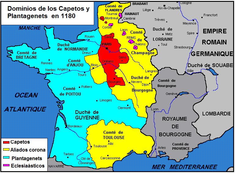 Mapa de los dominios de los capetos o reyes de Francia y los angevinos o plantagents en 1.180