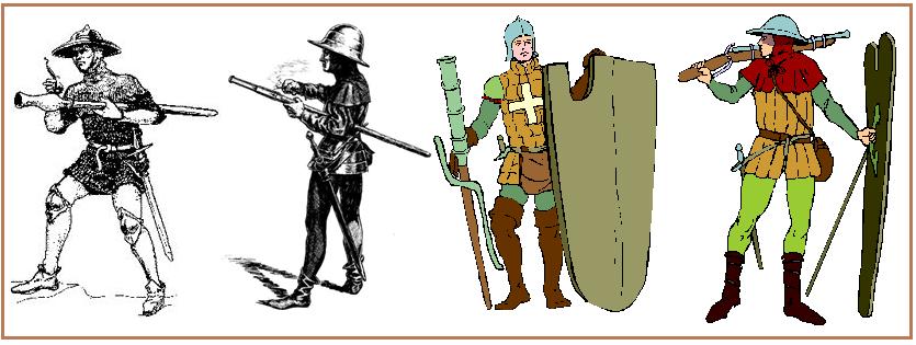 Tiradores de armas de fuego individuales (handgunner o handgonnes) a la izquierda handguns o bâton à feu, centro culebrina (couleuvrin a main), a la derecha arquebus