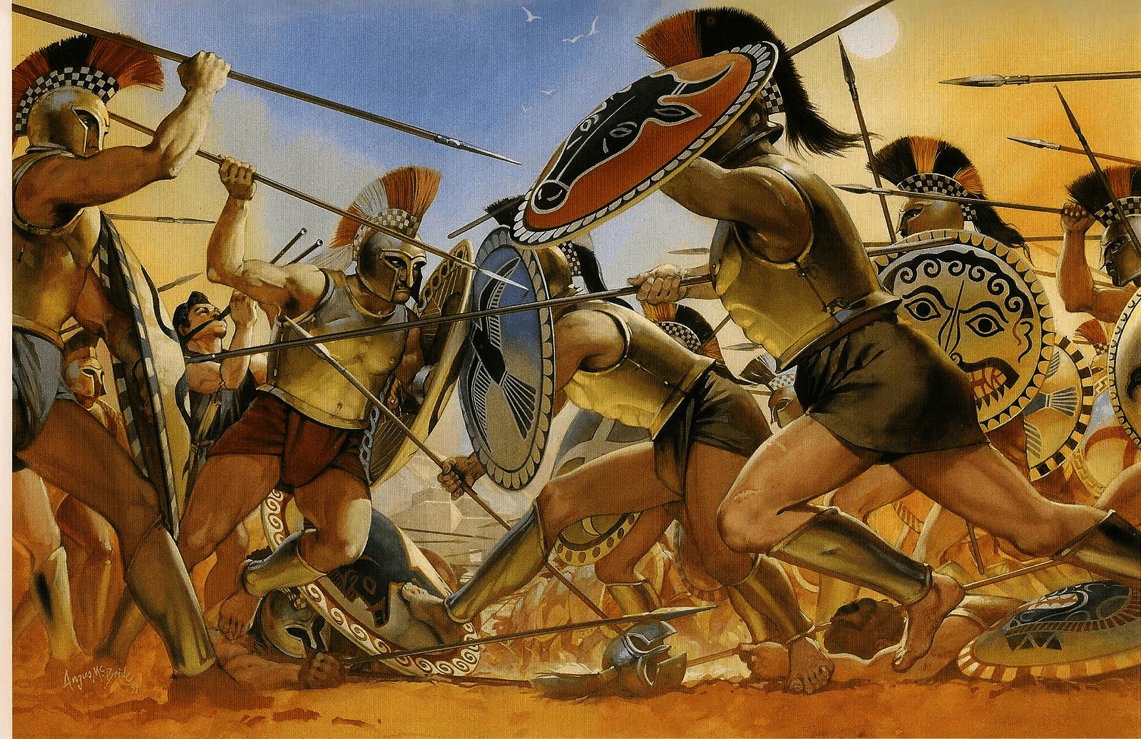 Choque entre falanges hoplitas siglo VII AC, se observa los cascos tipo corintio, las corazas tipo campana, y las grebas o espinilleras que no cubrían la rodilla. Autor Angus McBride para Osprey