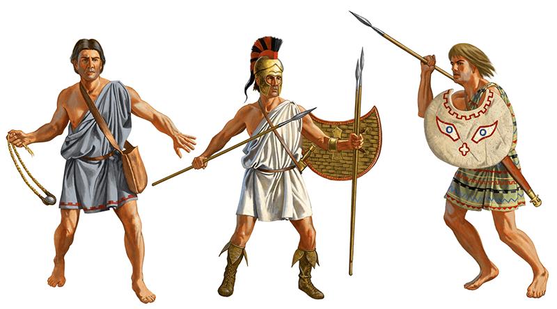 Psiloi o infantería ligera griega: a la izquierda un hondero, a la derecha peltastas