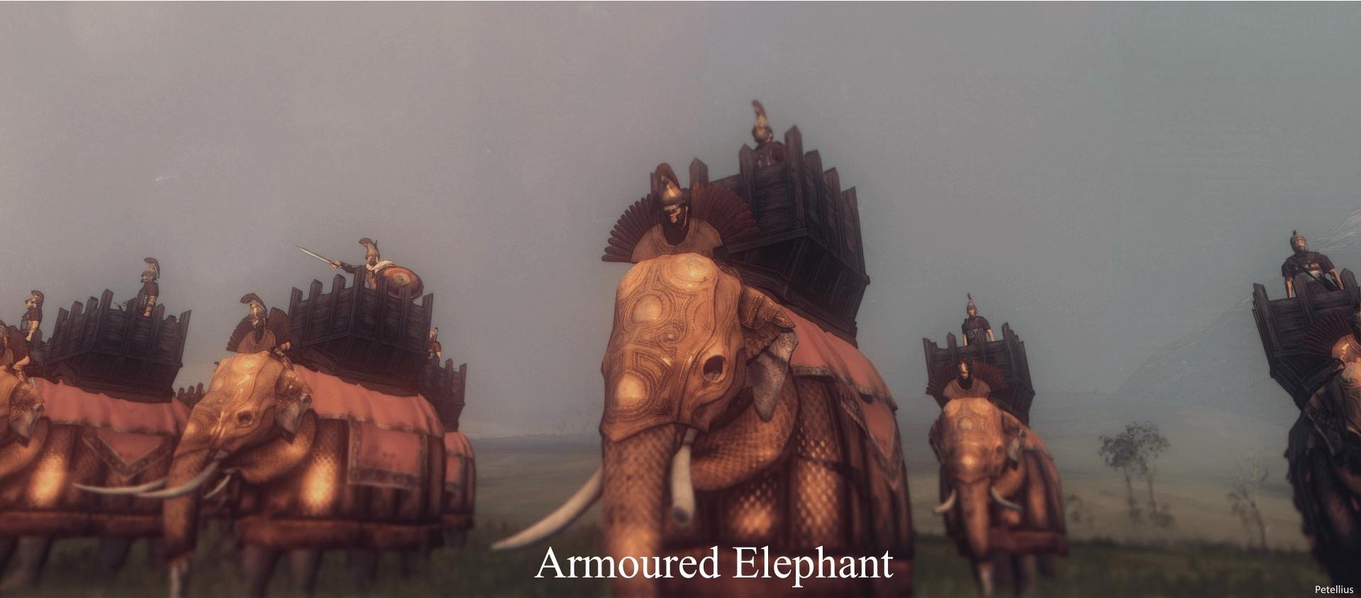 Elefantes de guerra hindúes acorazados