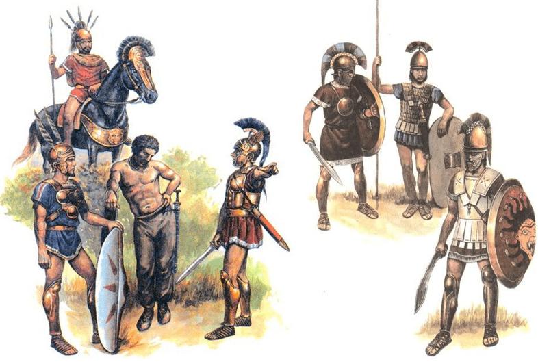 Soldados de Aníbal en Italia: tras 16 años de guerra la mayoría de las fuerzas de Aníbal eran italianas: a la izquierda oscos, sammitas, brucios y galos. A la derecha lucanos y etruscos.