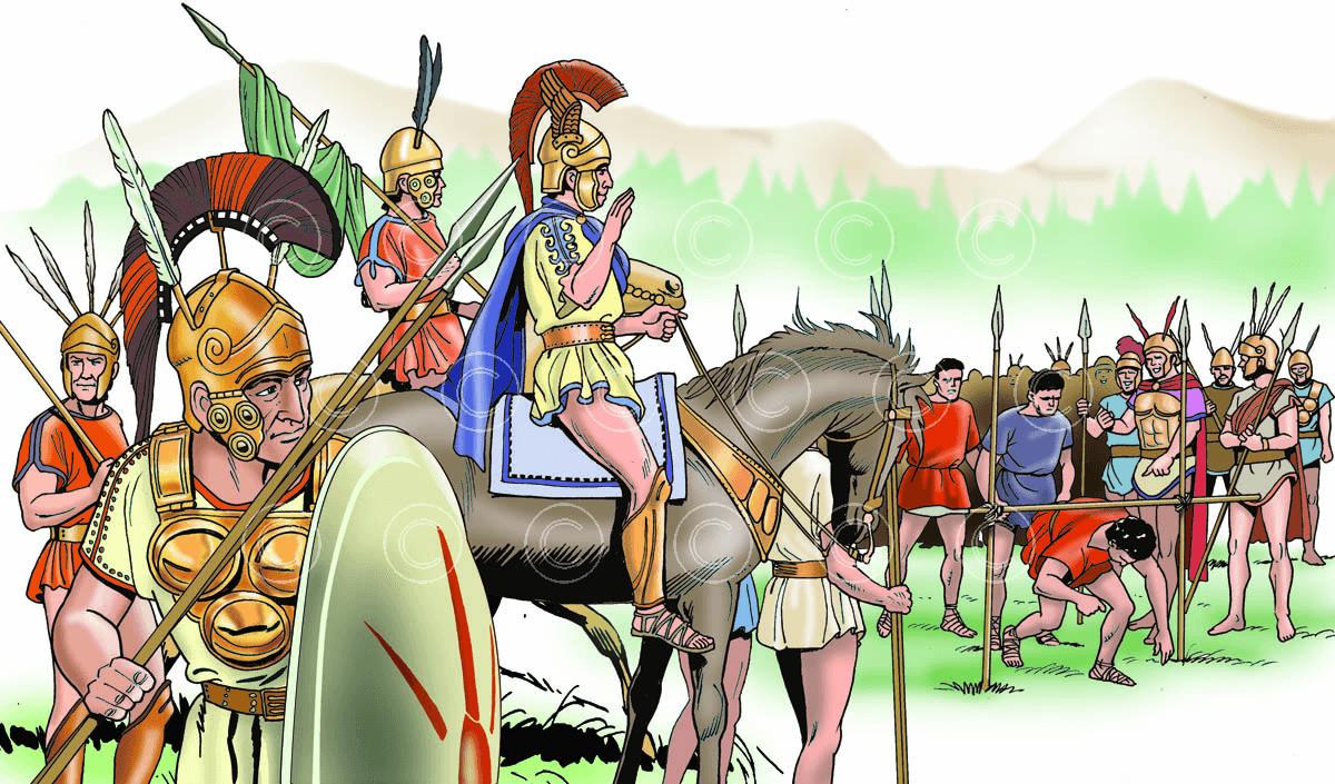 Batalla de los Horcas Caudinas 321 AC, los romanos pasando por las horcas. Autor Ángel Todaro