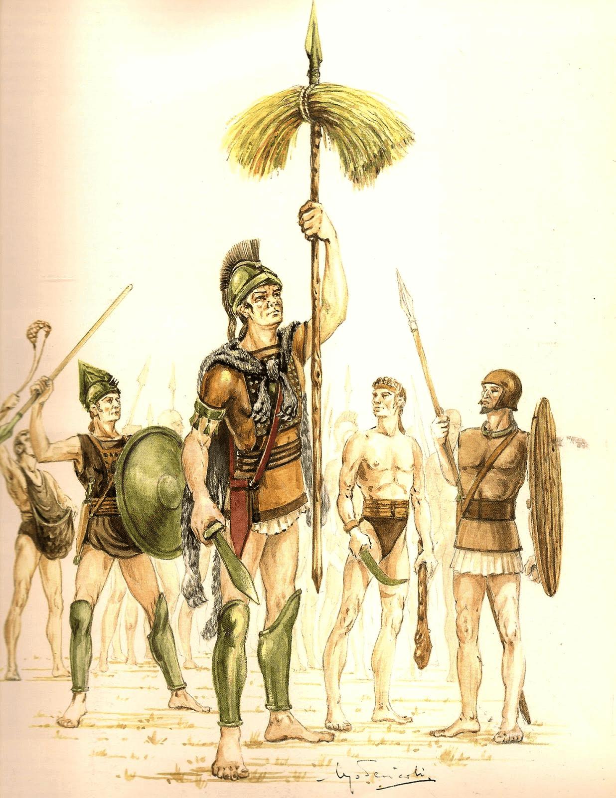 Manipulo romano, la palabra manupulo significa haz de heno, se ataban a una lanza, y servian para formar las centurias de los primeros ejércitos. Autor Ugo Pericoli