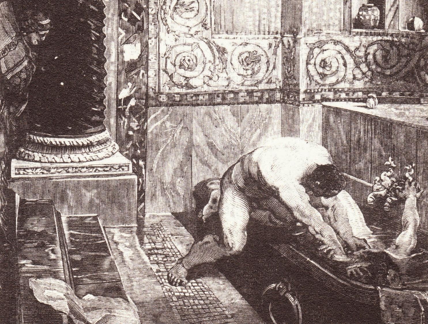 Asesinato de Cómodo. El emperador tras ser envenenado por su amante Marcia, es ahogado en una bañera por el liberto Narciso